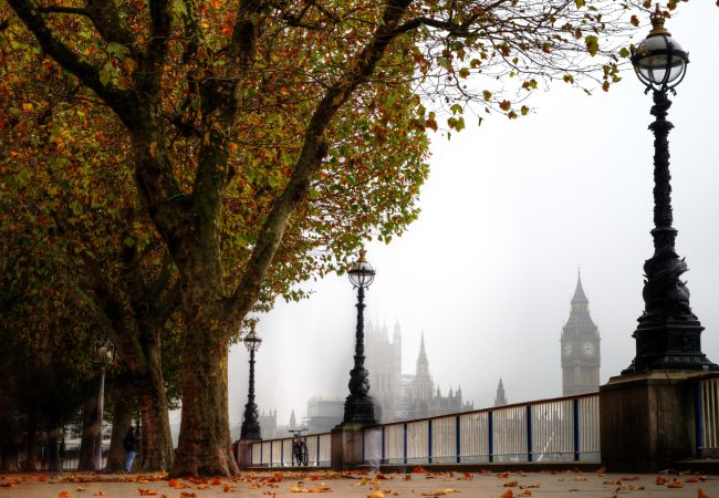 London Southbank riverside walk with view of House of Parliament and Big Ben on foggy autumn day with colourful foliage trees.